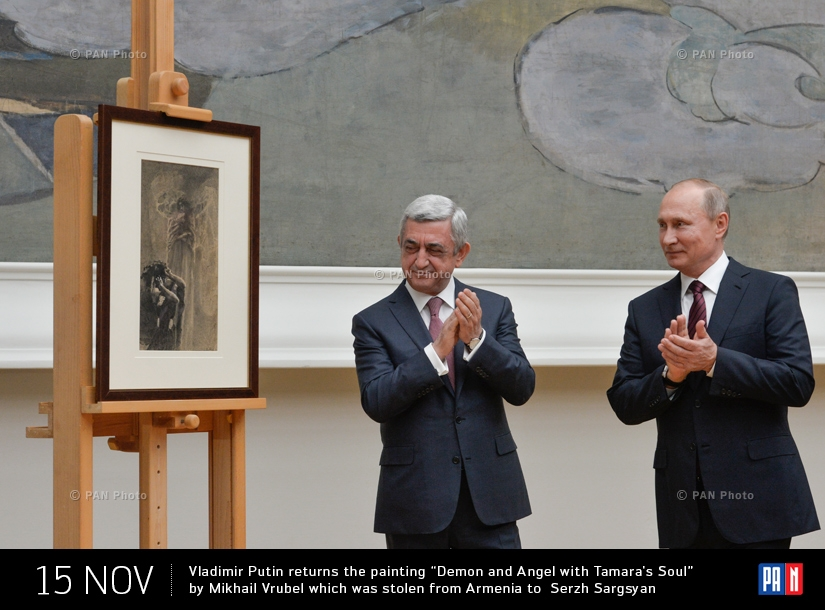 "Vladimir Putin returns the painting ""Demon and Angel with Tamara's Soul"" by Mikhail Vrubel which was stolen from Armenia to Serzh Sargsyan"