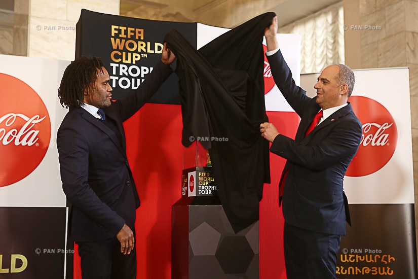 Press conference of Elina Markaryan, Evguenia Stoichkova, Christoph Speck and Christian Karembeu, and the public display of  FIFA World Cup™ Trophy