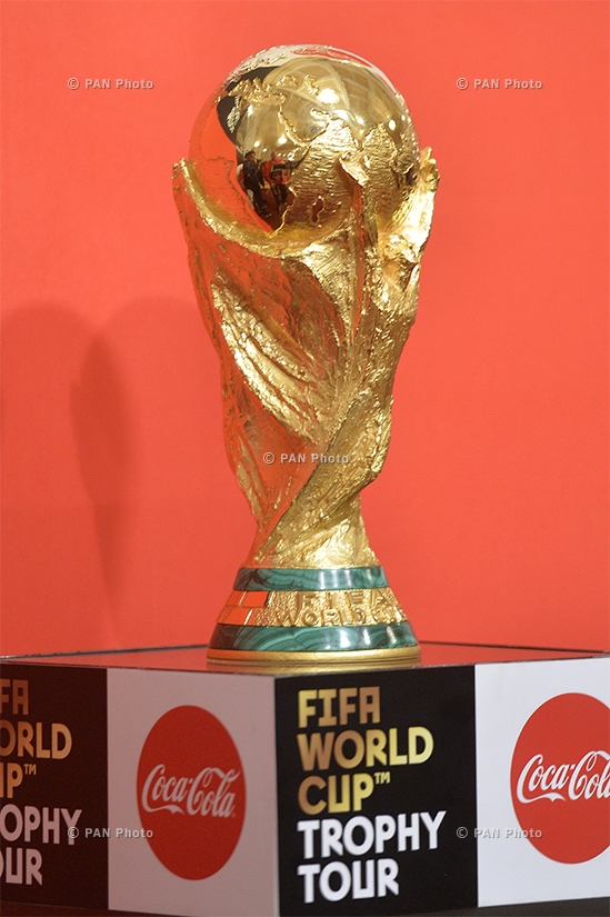 Armenian president Serzh Sargsyan accepting the FIFA World Cup™ Trophy