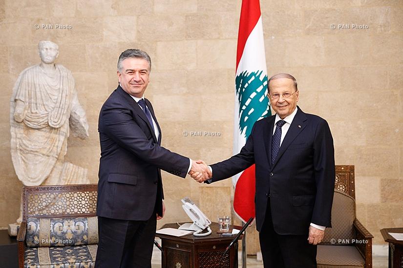 Prime minister Karen Karapetyan, Lebanon President Michel Aoun