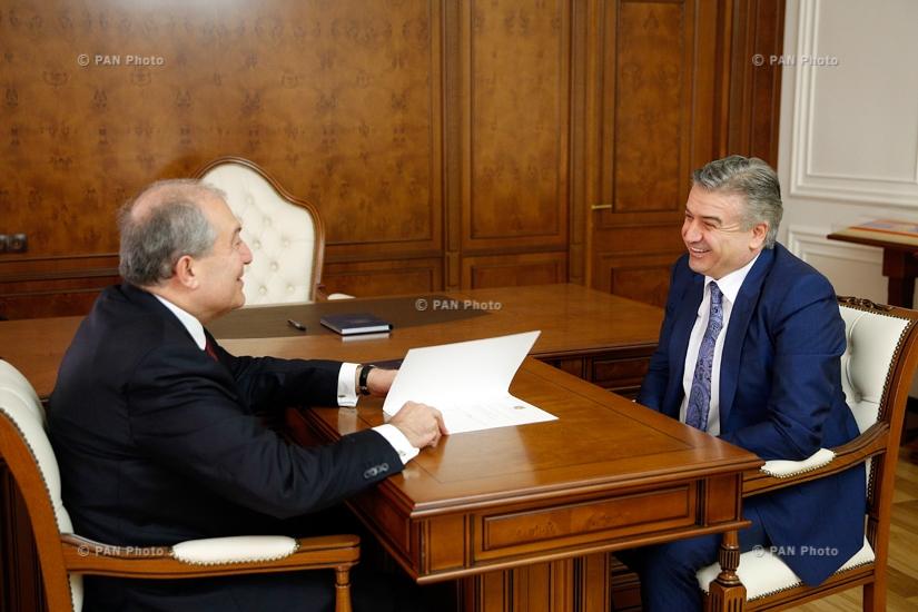 ՀՀ նախագահ Արմեն Սարգսյանի ու վարչապետ Կարեն Կարապետյանի հանդիպումը