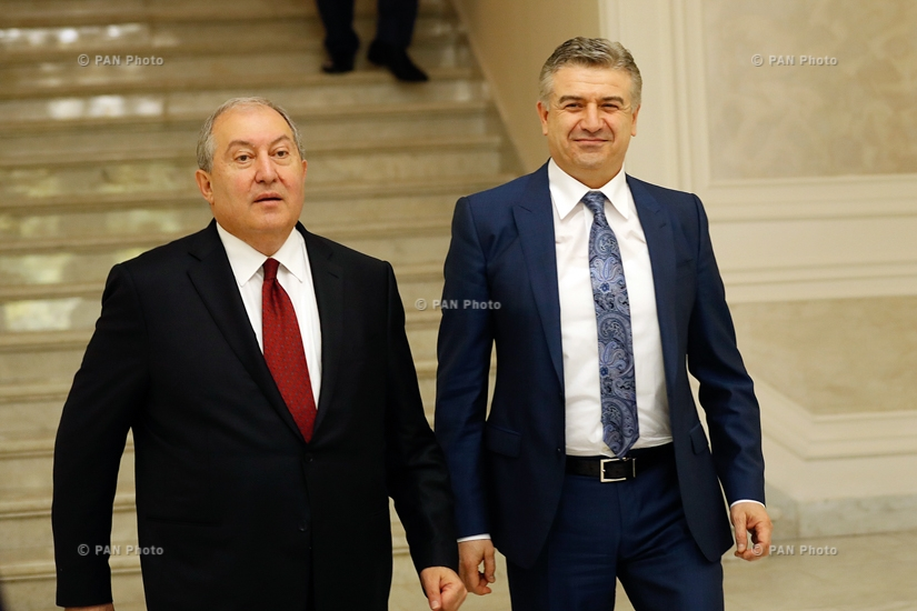 Armenian President Armen Sarkissian meets Prime minister Karen Karapetyan