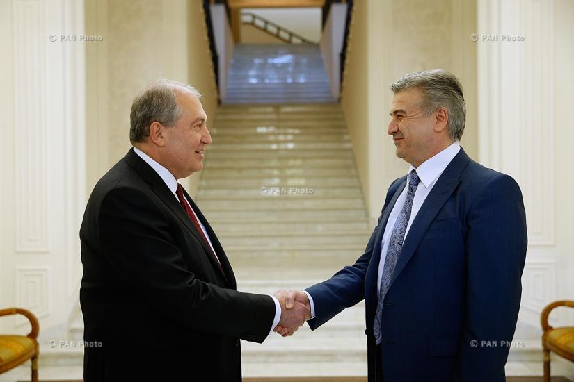 Встреча президента Армении Армена Саргсяна и премьер-министра Карена Карапетяна