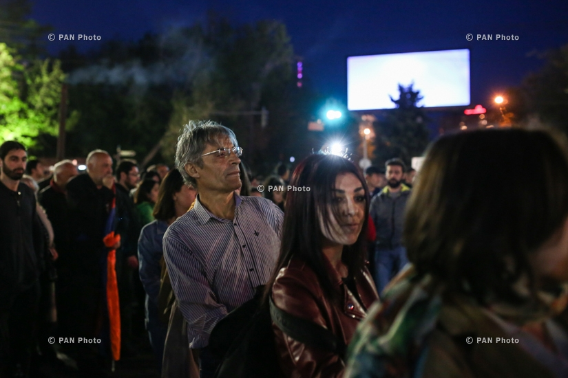 Protest against Armenia's ex-president Serzh Sargsyan's appointment as prime minister in Yerevan: Day 2