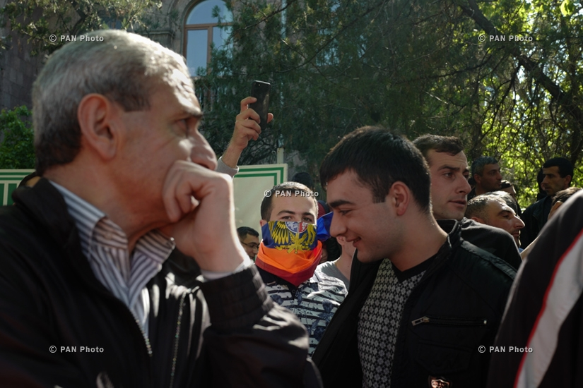 Activists protest against Armenia's ex-president Serzh Sargsyan's appointment as prime minister in Yerevan: Day 4