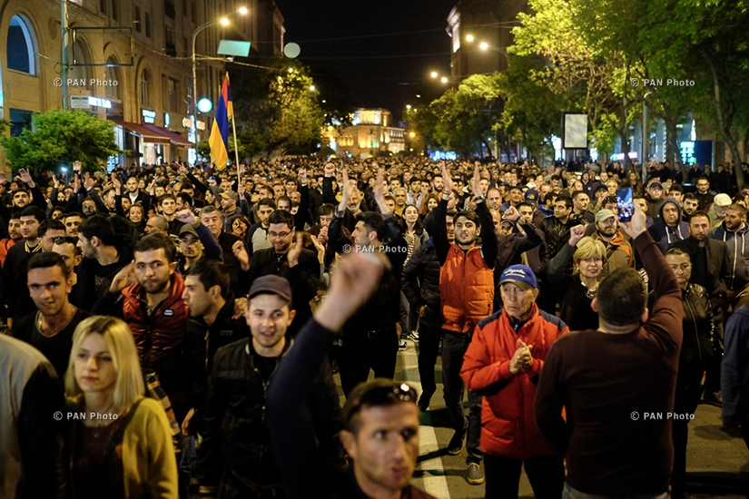 Rally against Armenia's ex-president Serzh Sargsyan's appointment as prime minister in Yerevan's Republic square