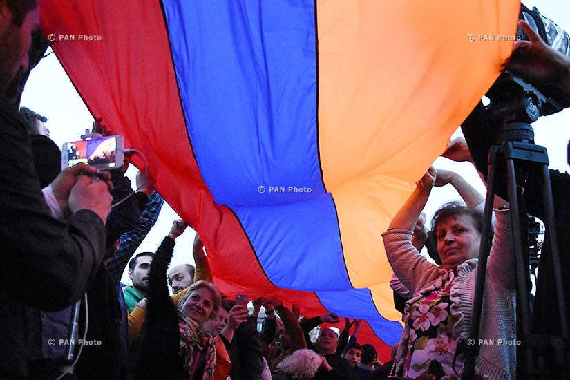Rally against Armenia's ex-president Serzh Sargsyan's appointment as prime minister in Yerevan's Republic square. Day 6