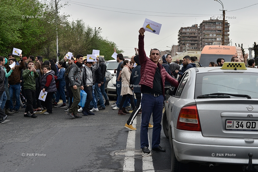 Protest against Armenia's ex-president Serzh Sargsyan's appointment as prime minister in Yerevan: Day 8