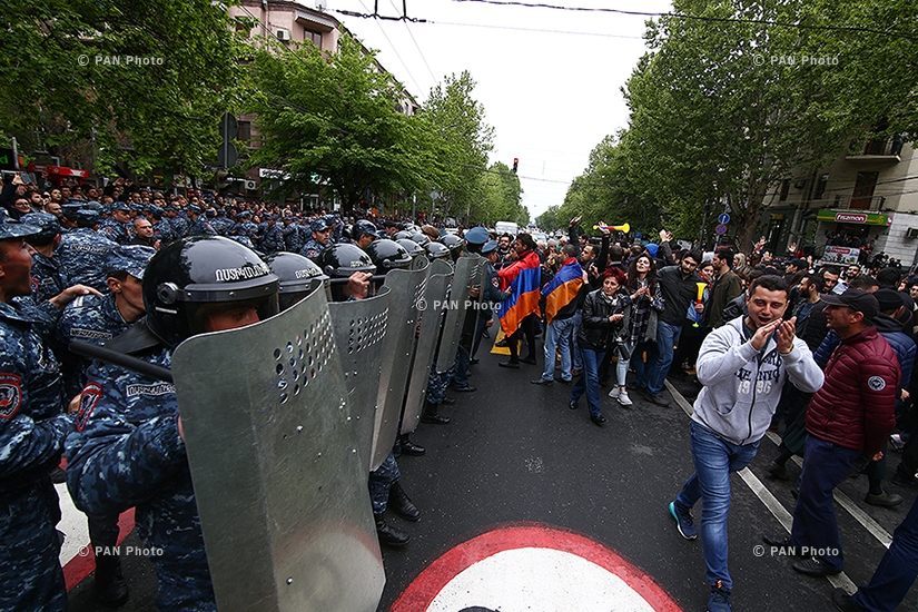 Protest against Armenia's ex-president Serzh Sargsyan's appointment as prime minister in Yerevan: Day 9