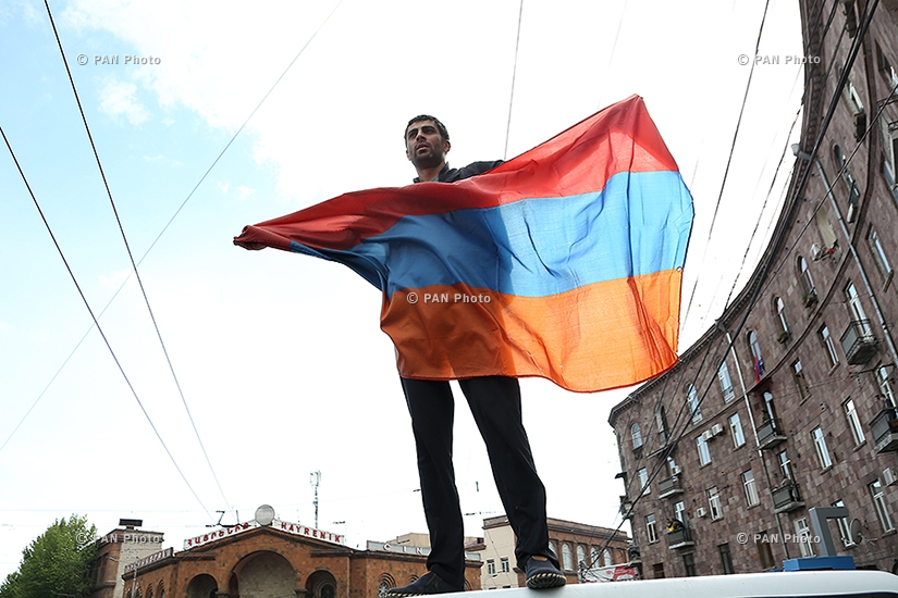 Protest against Armenia's ex-president Serzh Sargsyan's appointment as prime minister in Yerevan: Day 10