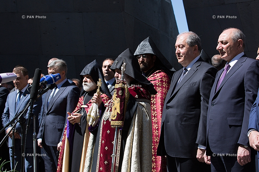 103rd anniversary of Armenian Genocide: Top Armenian officials visit Tsitsernakaberd Memorial in Yerevan