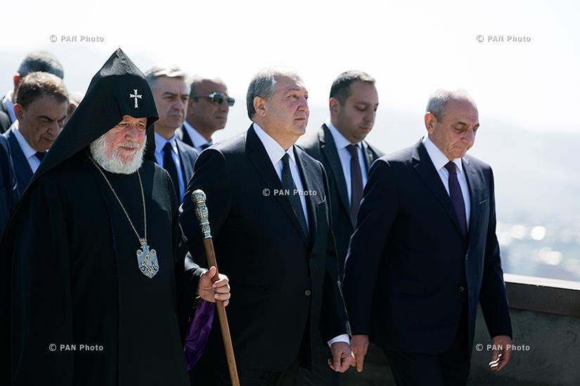 103rd anniversary of Armenian Genocide: Top Armenian officials visit Tsitsernakaberd Memorial in Yerevan