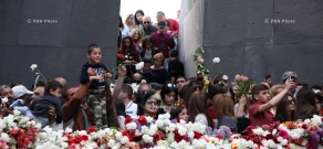 Opposition leader Nikol Pashinyan leads a silent crowd of people to the Armenian Genocide memorial