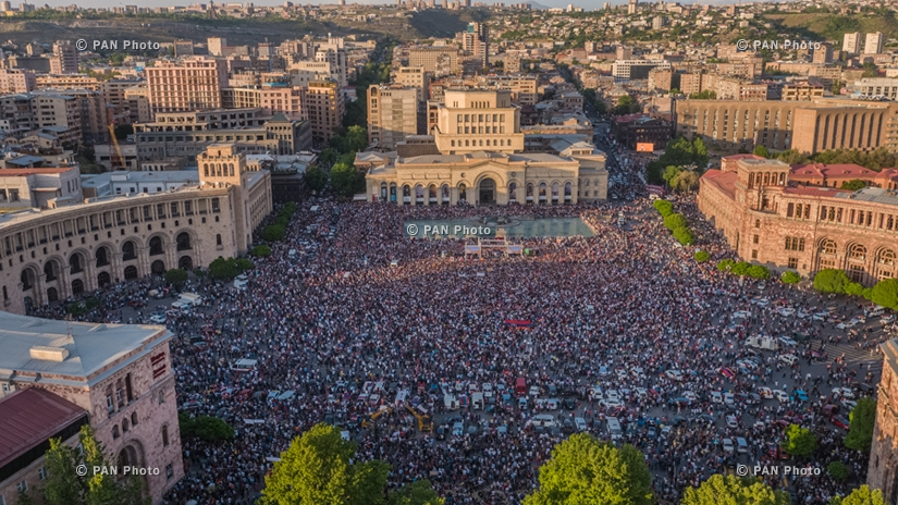The rally spearheaded by opposition leader Nikol Pashinyan demanding the resignation of ruling Republicans