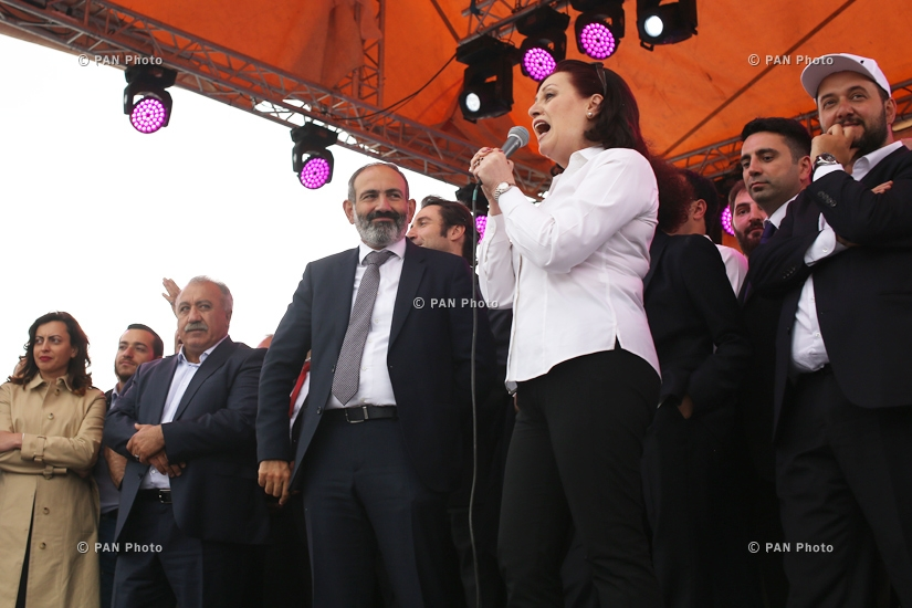 Supporters celebrate Nikol Pashinyan's election in the Prime Minister's post at Yerevan's Republic Square