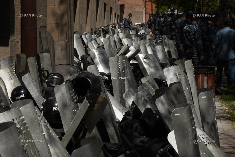Riot shields near the government building in downtown Yerevan,  25.04.2018