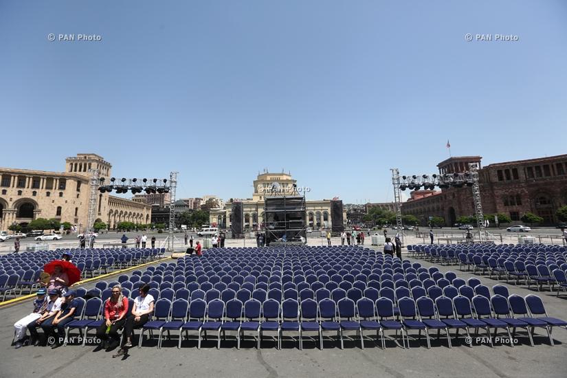 Հայաստանի Առաջին Հանրապետության 100-ամյակին նվիրված համերգի փորձը Հանրապետության հրապարակում