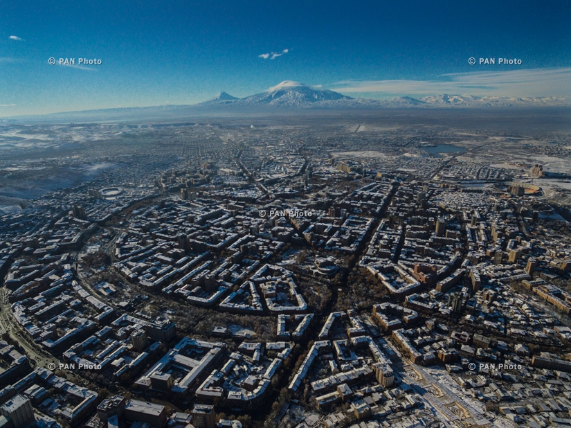 Panorama of Yerevan with a view of Mount Ararat, Armenia
