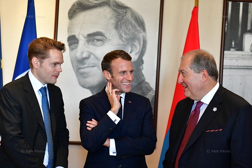 Nicolas Aznavour, Emmanuel Macron, Armen Sargsyan