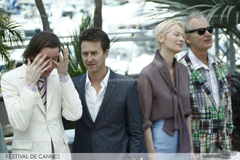 US director Wes Anderson, US actor Edward Norton, British actress Tilda Swinton and US actor Bill Murray