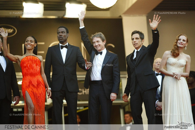 US actress Jada Pinkett Smith, US actor Chris Rock, Canadian actor Martin Short, US actor Ben Stiller and US actress Jessica Chastain