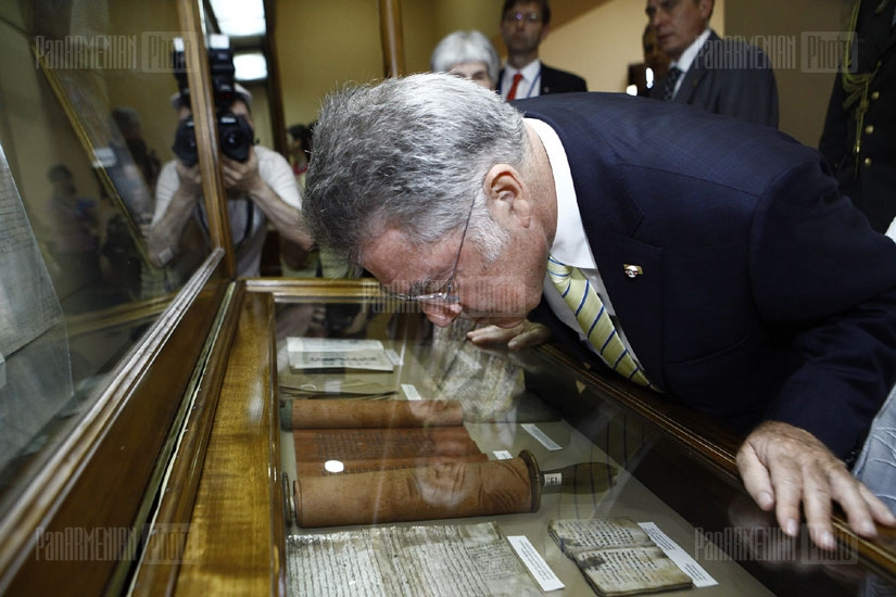 President of Austria Heinz Fischer visits Museum of Ancient Manuscripts Matenadaran