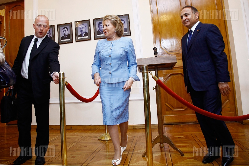 Press conference of Valentina Matvienko, chairperson of Russia's Federation Council