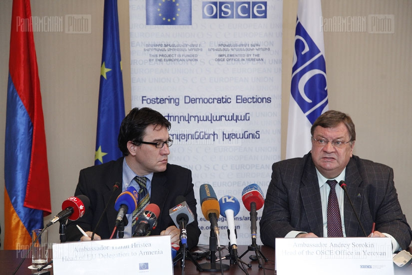 Press conference about Fostering Democratic Elections program launched by EU and OSCE