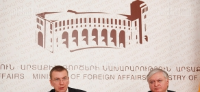 Press conference of Armenian FM Edward Nalbandyan and Foreign Minister of Latvia Edgar Rinkevich