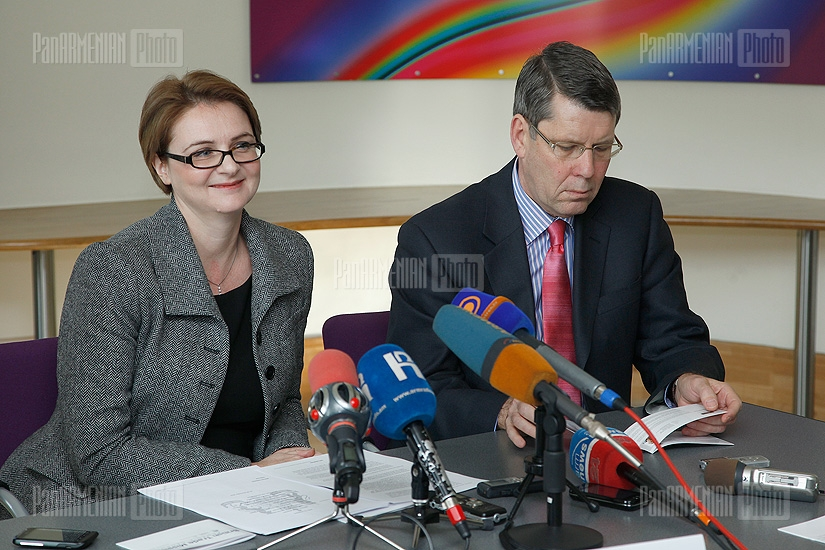 "Director of the ""British Expertise"" Nigel Peters and British Ambassador to Armenia Catherine Leach hold a press conference at the British Embassy in Armenia"