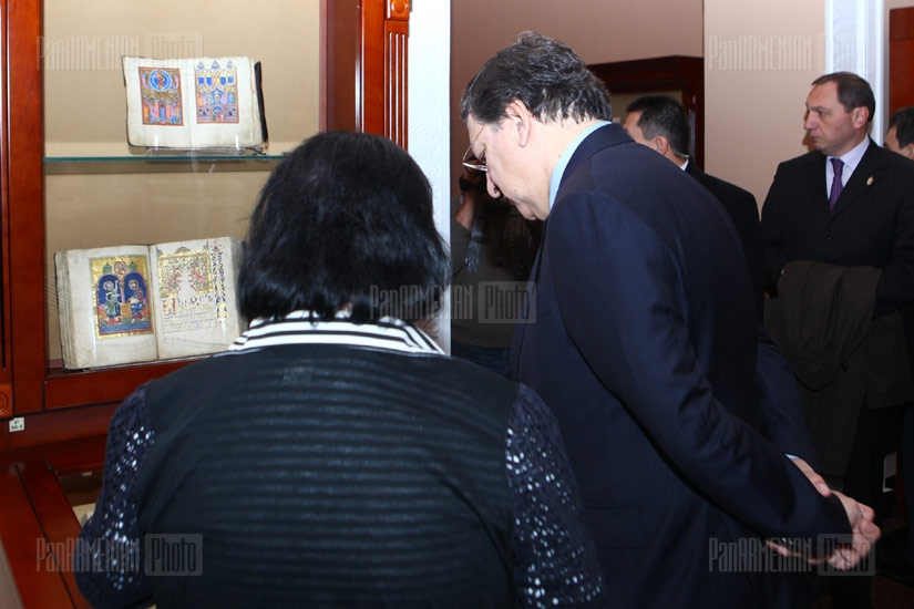 European Commission President Manuel Barroso visits Institute of Ancient Manuscripts Matenadaran