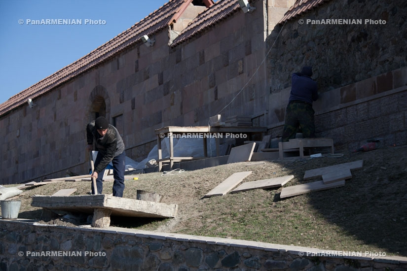 Coating of fence surrounding Gandzasar Monastery resumed...