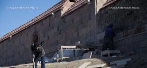 Coating of fence surrounding Gandzasar Monastery resumed...