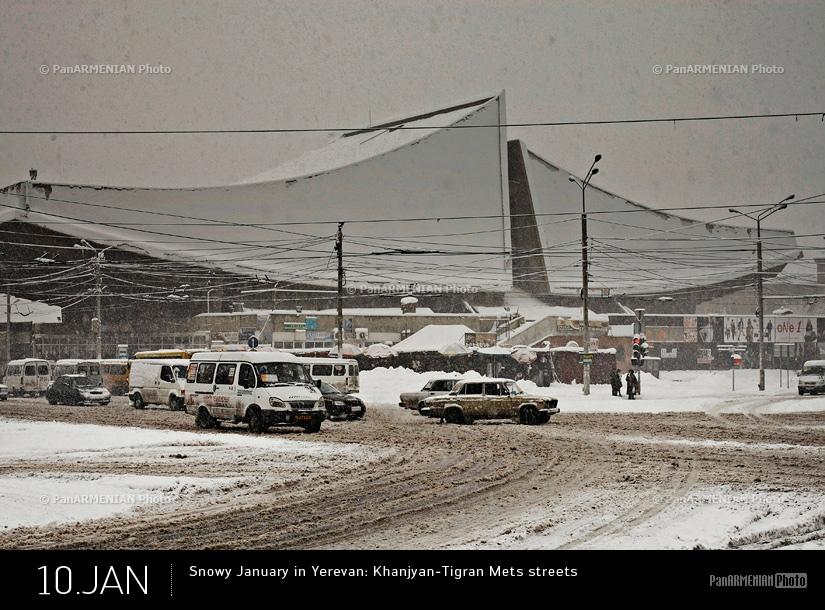 Snowy January in Yerevan: Khanjyan-Tigran Mets streets