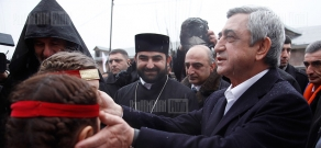 Presidential candidate Serzh Sargsyan visits  Movses village