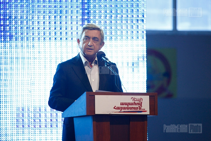Presidential candidate Serzh Sargsyan meeting with residents of Lori region