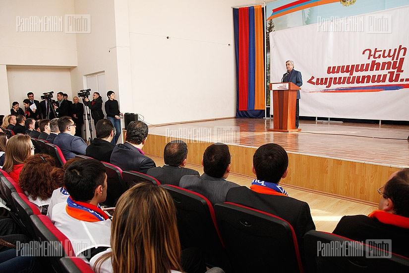 Presidential candidate Serzh Sargsyan visits  Kotayk region