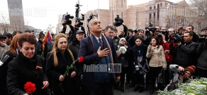 Raffi Hovhannisian led the march commemorated to the March 1 tragedy victims to Myasnikyan monument