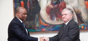RA Minister of Foreign Affairs Edward Nalbandyan received Zambia's ambassador to Armenia Frederick Shumba Hapunda