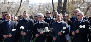 RA president Serzh Sargsyan and the country's high ranking officials visit Komitas Pantheon, on the occasion of the 6th anniversary of former RA Prime Minister Andranik Margaryan's death