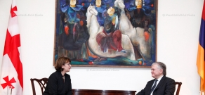 Armenian acting Foreign Minister Edward Nalbandyan receives Minister of Foreign Affairs of the Georgia Maia Panjikidze