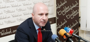 Press conference of Deno Gold Mining Company's director general Hrach Jabrayan