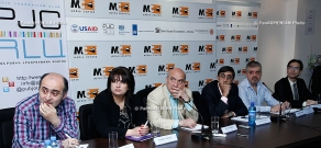 Representatives of NGOs, which will observe the City Council elections, give press conference in Yerevan