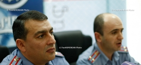 Press conference of the head of the Planning, Counting and Analyzing Department of the RA Traffic Police Armen Khachatryan and head of the Legal Department of the RA Traffic Police Armen Chilingaryan