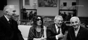 Meeting of Charles Aznavour, Serge Avedikian, Alain Terzian and Arsinée Khanjian