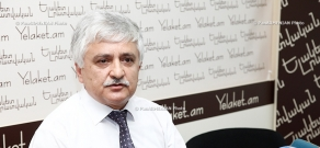 Press conference of Gagik Melikyan , the head of Armenia's assessment and testing center