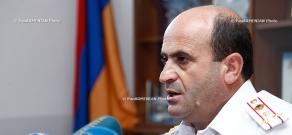 Press conderence of RA Police Road Patrol Department head, colonel Norik Sargsyan
