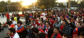 Football fans' march to Vazgen Sargsyan Stadium before Armenia-Bulgaria match