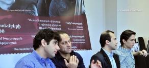 Press conference pianist Alexander Romanovsky, violinist Hayk Kazazyan, contrabass player Hayk Khachatryan and conductor Sergey Smbatyan
