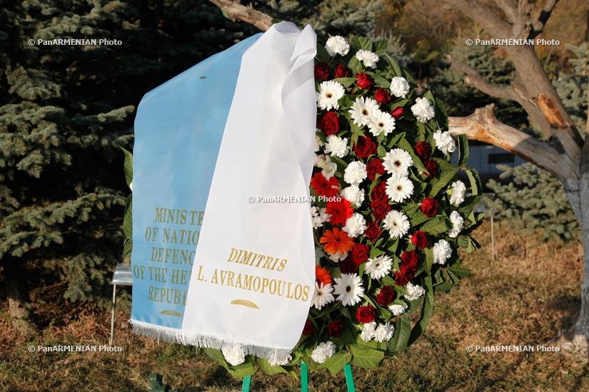 Delegation led by Greek National Defense Minister Dimitris Avramopoulos visits Armenian Genocide Memorial Tsitsernakabnerd